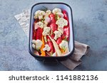 fresh vegetables ready to be...   Shutterstock . vector #1141882136