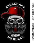 graffiti skull with gas mask.... | Shutterstock .eps vector #1141885730