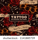 tattoo seamless background.... | Shutterstock .eps vector #1141885739
