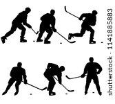 set of silhouettes of hockey... | Shutterstock .eps vector #1141885883
