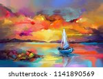 colorful oil painting on canvas ... | Shutterstock . vector #1141890569