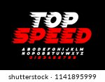 top speed style font  alphabet... | Shutterstock .eps vector #1141895999