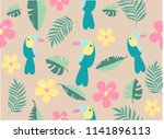 seamless  pattern with toucans... | Shutterstock . vector #1141896113