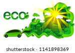 eco friendly car illustration...   Shutterstock . vector #1141898369