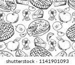 rustic pattern. hand drawn... | Shutterstock .eps vector #1141901093