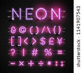 high detailed neon font set ... | Shutterstock .eps vector #1141907543