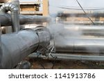leakage of steam in heat... | Shutterstock . vector #1141913786