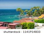malibu beach homes lining the... | Shutterstock . vector #1141914833