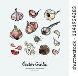 vegetable garlic. hipster hand...   Shutterstock .eps vector #1141924283
