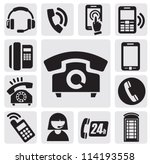 vector black phone icons set on ...