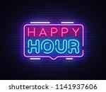 happy hour neon sign vector... | Shutterstock .eps vector #1141937606