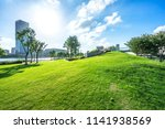 green lawn with city skyline in ... | Shutterstock . vector #1141938569