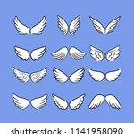 cartoon angel wings set. hand...   Shutterstock .eps vector #1141958090
