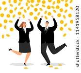 rich business couple. money...   Shutterstock .eps vector #1141958120