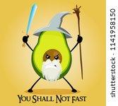 vector kawaii cute avocado... | Shutterstock .eps vector #1141958150