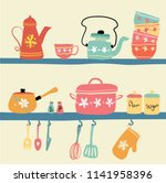 hand drawn pastel vintage... | Shutterstock .eps vector #1141958396