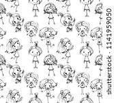kids hand drawn seamless... | Shutterstock .eps vector #1141959050
