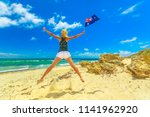 beach freedom summer vacation.... | Shutterstock . vector #1141962920