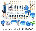 isometric set 4  business lady...   Shutterstock .eps vector #1141970546
