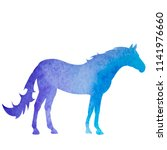 silhouette watercolor horse  on ... | Shutterstock .eps vector #1141976660
