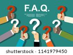 human hands holding question... | Shutterstock .eps vector #1141979450