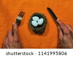 two male hands with fork and... | Shutterstock . vector #1141995806
