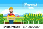 harvest time.farmer with... | Shutterstock .eps vector #1142009000