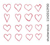 hand drawn hearts icon | Shutterstock .eps vector #1142012930