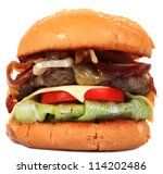 cheese beef burger isolated on... | Shutterstock . vector #114202486