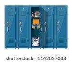 blue metal cabinets. lockers in ... | Shutterstock .eps vector #1142027033