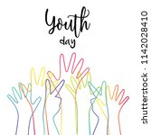 happy youth day greeting card... | Shutterstock .eps vector #1142028410