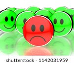 one sad face in front and happy ...   Shutterstock . vector #1142031959