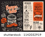 burger menu. vector food flyer... | Shutterstock .eps vector #1142032919