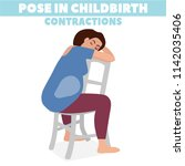 pose in childbirth. birth pains.... | Shutterstock .eps vector #1142035406