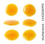 round spill stain of sauce... | Shutterstock . vector #1142036993