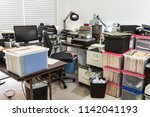 messy business office with... | Shutterstock . vector #1142041193
