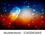 fingerprint scanning technology ... | Shutterstock . vector #1142041643