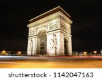 arc de triomphe at night  long... | Shutterstock . vector #1142047163
