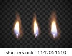 realistic flame candles with... | Shutterstock .eps vector #1142051510