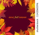 autumn colored foliage frame... | Shutterstock .eps vector #1142060396