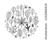 hand drawn leaves icons in... | Shutterstock .eps vector #1142060519