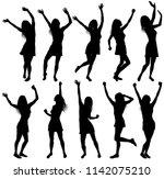 illustration with happy dancing ... | Shutterstock .eps vector #1142075210