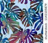 monstera leaves seamless... | Shutterstock . vector #1142105879