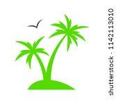 tropical palm tree. summer... | Shutterstock .eps vector #1142113010