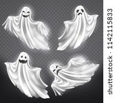 vector set of white ghosts with ... | Shutterstock .eps vector #1142115833