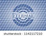 eternal blue badge with... | Shutterstock .eps vector #1142117210