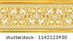 gold baroque frame scroll... | Shutterstock .eps vector #1142123930