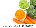 vegetable puree  carrots ... | Shutterstock . vector #1142124950