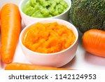 vegetable puree  carrots ... | Shutterstock . vector #1142124953