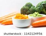 vegetable puree  carrots ... | Shutterstock . vector #1142124956